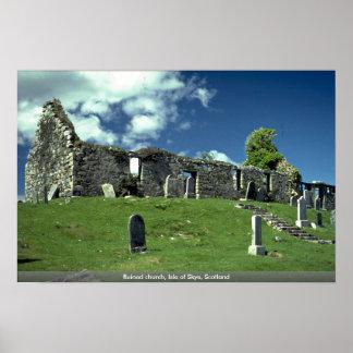 Ruined church, Isle of Skye, Scotland Print