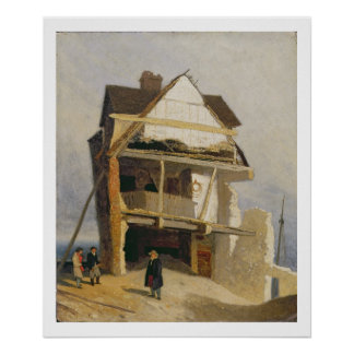 Ruined House, c.1807-10 (oil on millboard mounted Poster