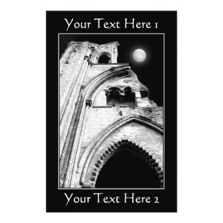 """Ruins at Night. Black and White. 5.5"""" X 8.5"""" Flyer"""