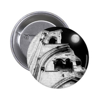 Ruins at Night. Black and White. Pinback Button