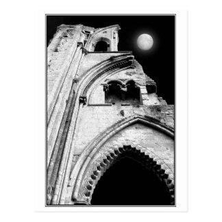 Ruins at Night. Black and White. Postcard