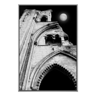 Ruins at Night. Black and White. Poster