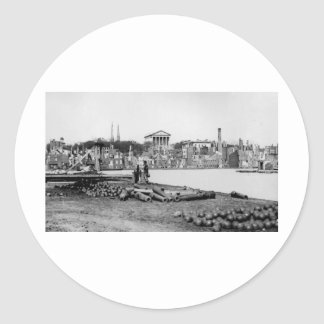Ruins in front of the Capitol in Richmond, 1865 Classic Round Sticker