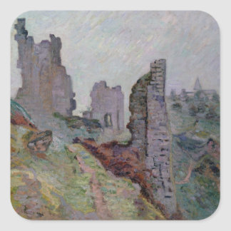 Ruins in the Fog at Crozant, 1894 (oil on canvas) Square Sticker