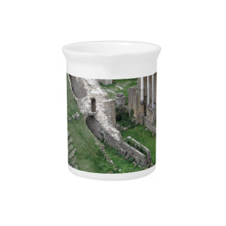 Ruins of a antique roman amphitheater drink pitcher