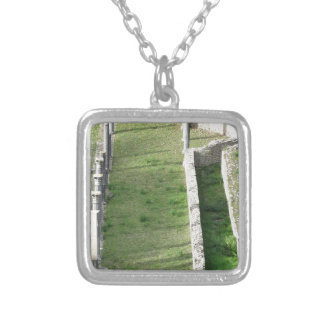 Ruins of a antique roman amphitheater silver plated necklace