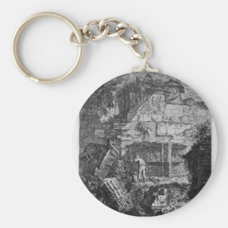 Ruins of an ancient tomb placed before other ruins keychain