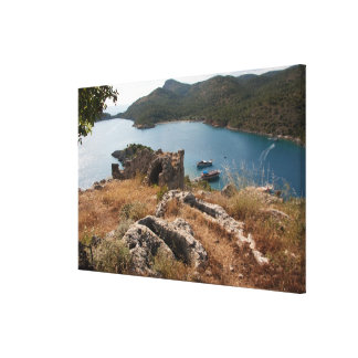 Ruins of ancient burial site on small island canvas print