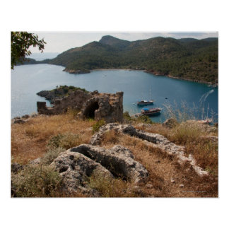 Ruins of ancient burial site on small island poster