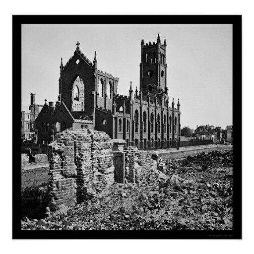 Ruins of Cathedral St. John in Charleston 1865 Poster