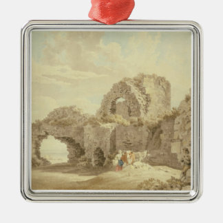 Ruins of Pevensey Castle (w/c on paper) Metal Ornament