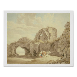 Ruins of Pevensey Castle (w/c on paper) Poster