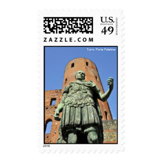Ruins of Porta Palatina with statue on front of it Stamp