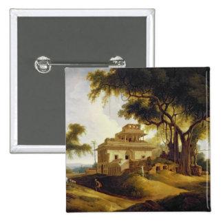 Ruins of the Naurattan, Sasaram, Bihar, 1811 (oil 2 Inch Square Button