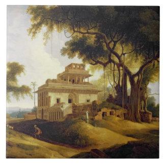 Ruins of the Naurattan, Sasaram, Bihar, 1811 (oil Large Square Tile