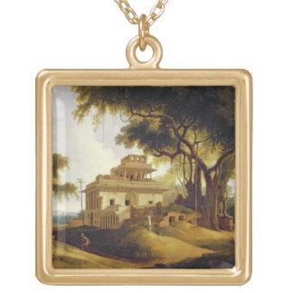 Ruins of the Naurattan, Sasaram, Bihar, 1811 (oil Square Pendant Necklace