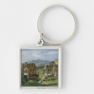 Ruins of the Theatre at Taormina Silver-Colored Square Keychain
