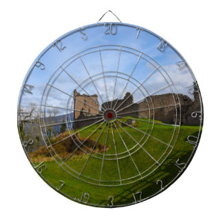 Ruins of Urquhart Castle along Loch Ness, Scotland Dartboard With Darts