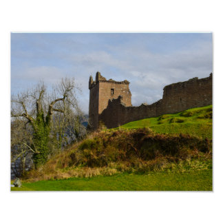 Ruins of Urquhart Castle along Loch Ness, Scotland Poster