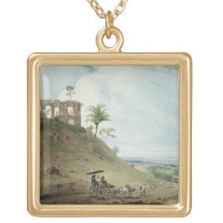 Ruins on Pir Pihar, near Monghy, Bihar, 1790 (w/c Square Pendant Necklace