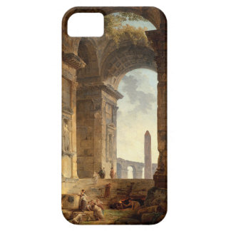Ruins with an obelisk in the distance by Hubert iPhone 5 Cases