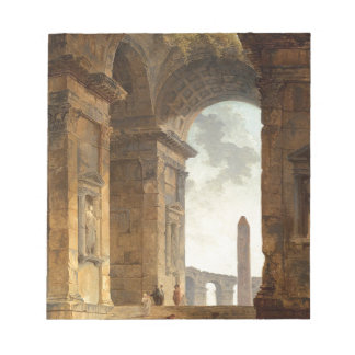 Ruins with an obelisk in the distance by Hubert Notepads