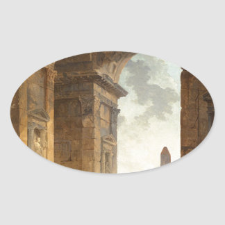 Ruins with an obelisk in the distance by Hubert Oval Sticker