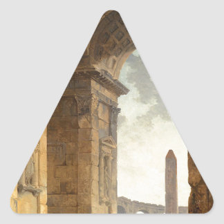 Ruins with an obelisk in the distance by Hubert Triangle Sticker