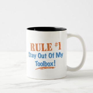 Rule #1 Stay Out Of My Tool Box Two-Tone Coffee Mug