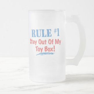 Rule #1 Stay Out Of My Toy Box Frosted Glass Beer Mug
