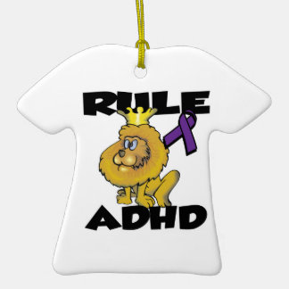 Rule ADHD Double-Sided T-Shirt Ceramic Christmas Ornament
