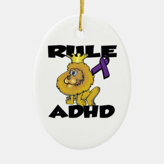 Rule ADHD Double-Sided Oval Ceramic Christmas Ornament