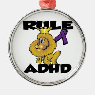 Rule ADHD Round Metal Christmas Ornament
