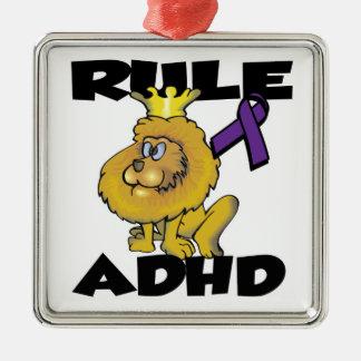 Rule ADHD Square Metal Christmas Ornament