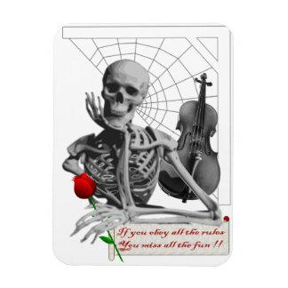 Rule Breaking Skeleton with Rose and Violin. Magnet