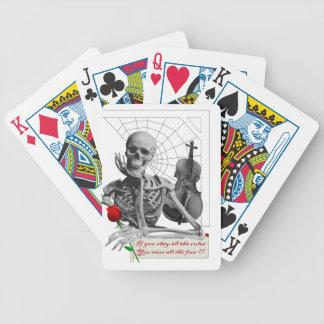 Rule Breaking Skeleton with Rose and Violin. Bicycle Card Decks