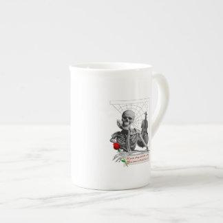 Rule Breaking Skeleton with Rose and Violin. Porcelain Mug