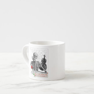 Rule Breaking Skeleton with Rose and Violin. Espresso Cup
