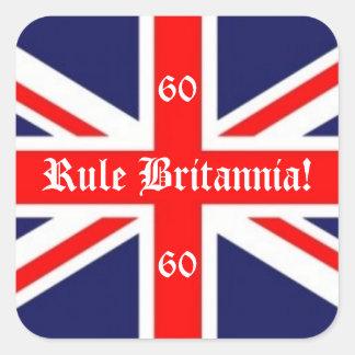Rule Britannia!-British Flag+60 for Jubilee Square Sticker