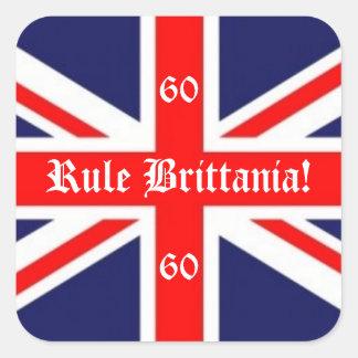 Rule Brittania!-British Flag+60 for Jubilee Square Sticker