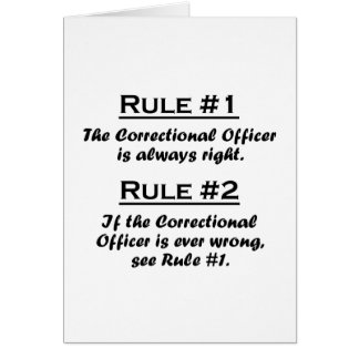 Rule Correctional Officer Stationery Note Card