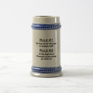 Rule Fast Food Manager Beer Stein