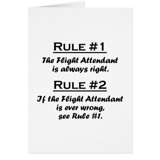 Rule Flight Attendant Stationery Note Card