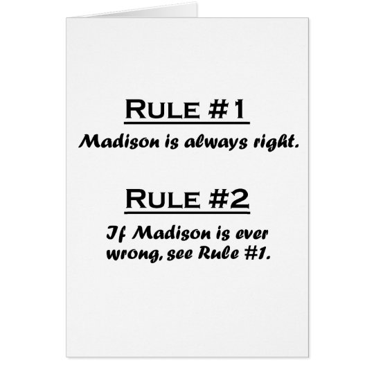 Rule Madison Card