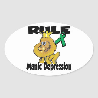 Rule Manic Depression Oval Stickers