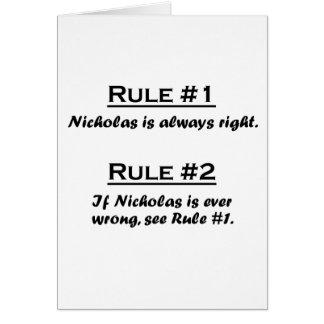 Rule Nicholas Card
