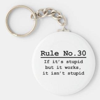 Rule No. 30 Basic Round Button Keychain
