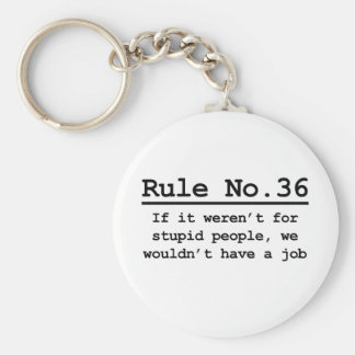 Rule No. 36 Basic Round Button Keychain