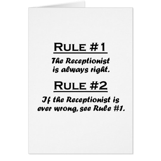 Rule Recptionist Card