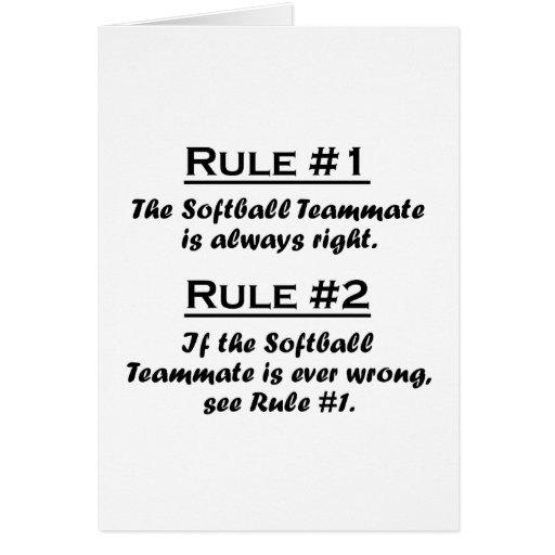 Rule Softball Teammate Greeting Cards